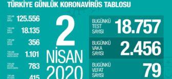 2 Nisan 2020 Koronavirüs Tablosu Türkiye