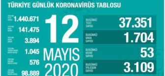 12 Mayıs 2020 Koronavirüs Tablosu