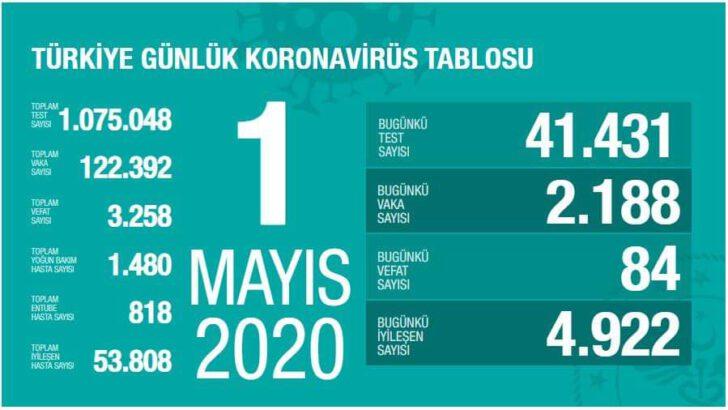 01 Mayıs 2020 Koronavirüs Tablosu