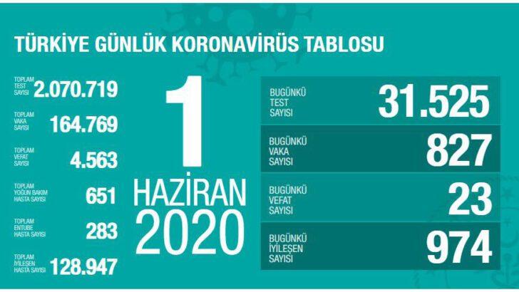 01 Haziran 2020 Türkiye Koronavirüs Tablosu