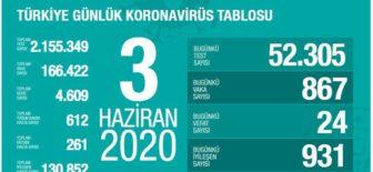 03 Haziran 2020 Türkiye Koronavirüs Tablosu