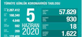 05 Haziran 2020 Türkiye Koronavirüs Tablosu