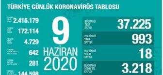 09 Haziran 2020 Türkiye Koronavirüs Tablosu