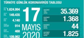 17 Mayıs 2020 Türkiye Koronavirüs Tablosu