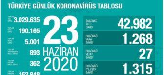 23 Haziran 2020 Türkiye Koronavirüs Tablosu