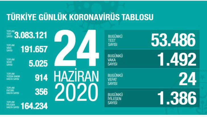 24 Haziran 2020 Türkiye Koronavirüs Tablosu
