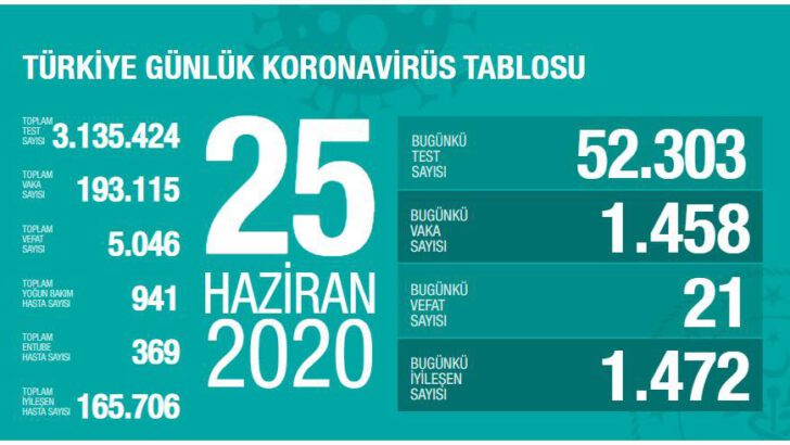25 Haziran 2020 Türkiye Koronavirüs Tablosu