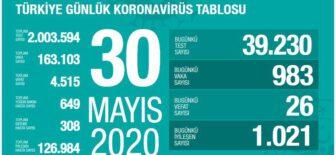 30 Mayıs 2020 Türkiye Koronavirüs Tablosu