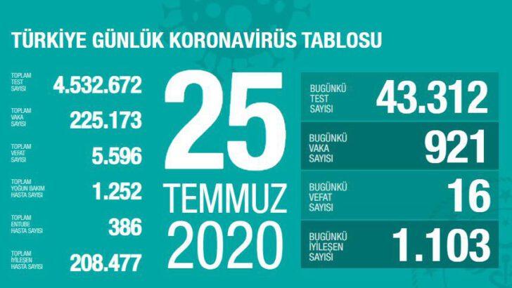 25 Temmuz 2020 Türkiye Koronavirüs Tablosu