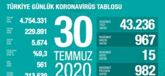 30 Temmuz 2020 Türkiye Koronavirüs Tablosu