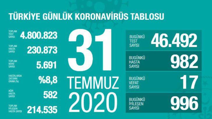 31 Temmuz 2020 Türkiye Koronavirüs Tablosu