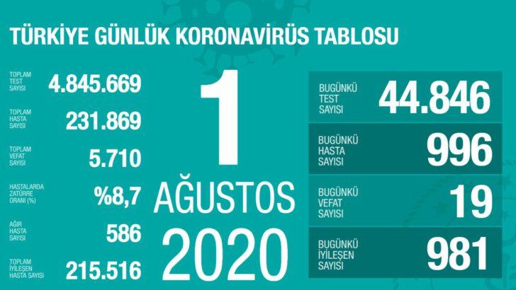 01 Ağustos 2020 Koronavirüs Tablosu
