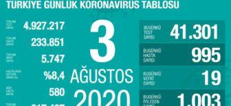03 Ağustos 2020 Koronavirüs Tablosu