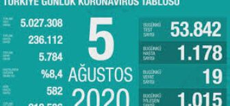 05 Ağustos 2020 Koronavirüs Tablosu