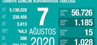 07 Ağustos 2020 Koronavirüs Tablosu