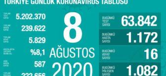 08 Ağustos 2020 Koronavirüs Tablosu
