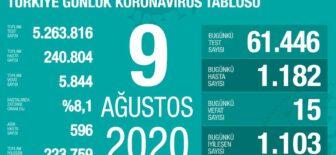 09 Ağustos 2020 Koronavirüs Tablosu