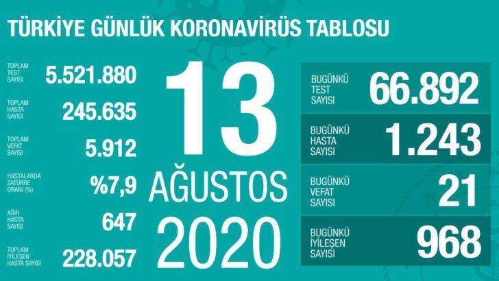 13 Ağustos 2020 Koronavirüs Tablosu