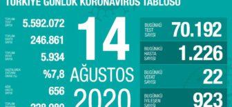 14 Ağustos 2020 Koronavirüs Tablosu