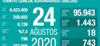 24 Ağustos 2020 Koronavirüs Tablosu