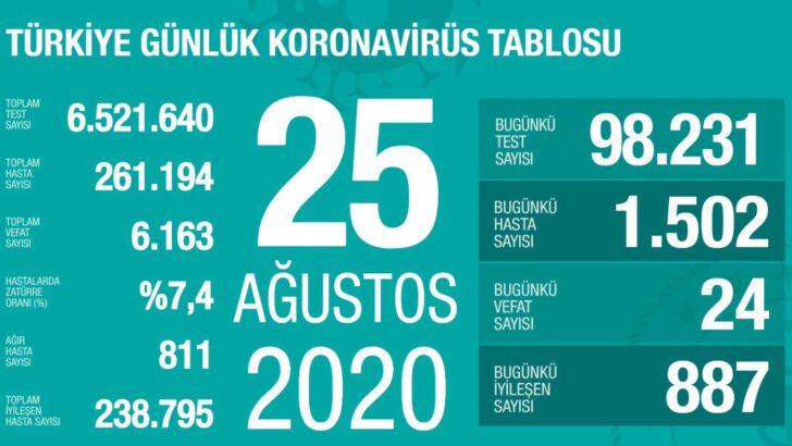 25 Ağustos 2020 Koronavirüs Tablosu