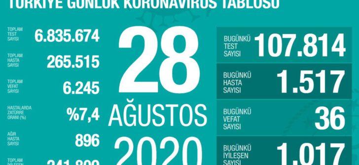 28 Ağustos 2020 Koronavirüs Tablosu