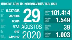 29 Ağustos 2020 Koronavirüs Tablosu