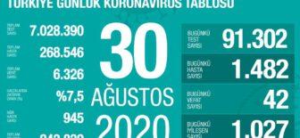 30 Ağustos 2020 Koronavirüs Tablosu