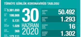 30 Haziran 2020 Türkiye Koronavirüs Tablosu