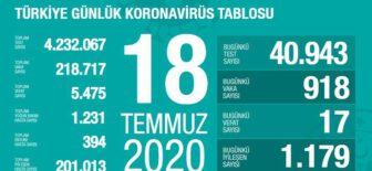 18 Temmuz 2020 Türkiye Koronavirüs Tablosu
