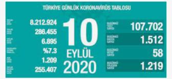 10 Eylül 2020 Koronavirüs Tablosu