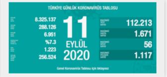 11 Eylül 2020 Koronavirüs Tablosu