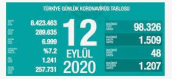 12 Eylül 2020 Koronavirüs Tablosu