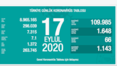 17 Eylül 2020 Koronavirüs Tablosu