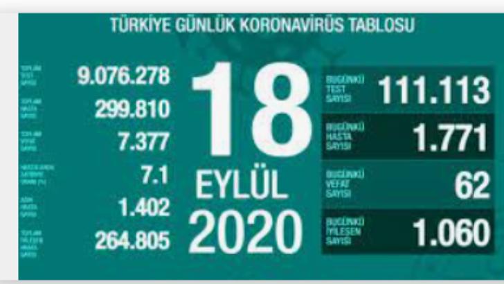 18 Eylül 2020 Koronavirüs Tablosu