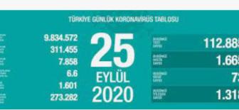 25 Eylül 2020 Koronavirüs Tablosu