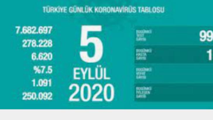 5 Eylül 2020 Koronavirüs Tablosu