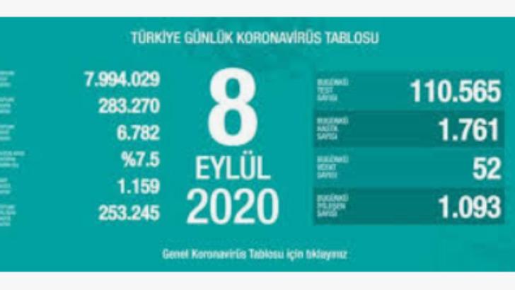 8 Eylül 2020 Koronavirüs Tablosu